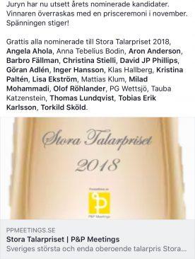 Tacksam för nomineringen till Stora Talarpriset 2018.